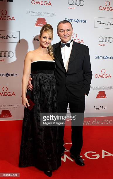 Lara Joy Koerner and boyfriend Heiner Pollert arrive for the German Filmball 2011 at Hotel Bayerischer Hof on January 15 2011 in Munich Germany