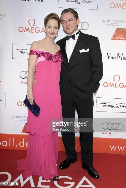 Lara Joy Koerner and boyfriend Heiner Pollert attend the 37 th German Filmball 2010 at the hotel Bayrischer Hof on January 16 2010 in Munich Germany