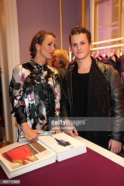 Lara Joy Koerner and her son David during the Talbot Runhof flagship boutique opening at Preysing Palais on October 14 2015 in Munich Germany