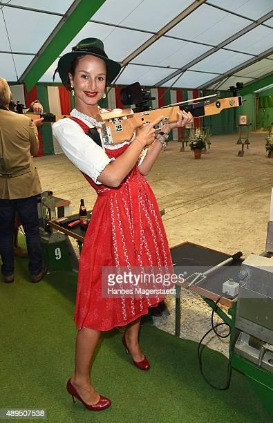 Lara Joy Koerner attends the BMW Armbrustschiessen at ArmbrustSchuetzenfesthalle during the Oktoberfest 2015 at Theresienwiese on September 21 2015...