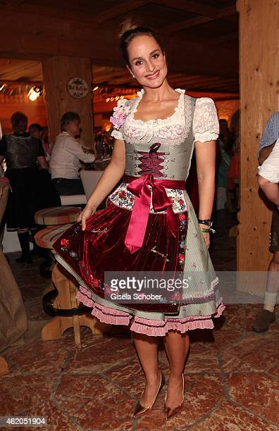 Lara Joy Koerner wearing a Dirndl of Lola Paltinger during the Weisswurstparty at Hotel Stanglwirt on January 23 2015 in Going Austria