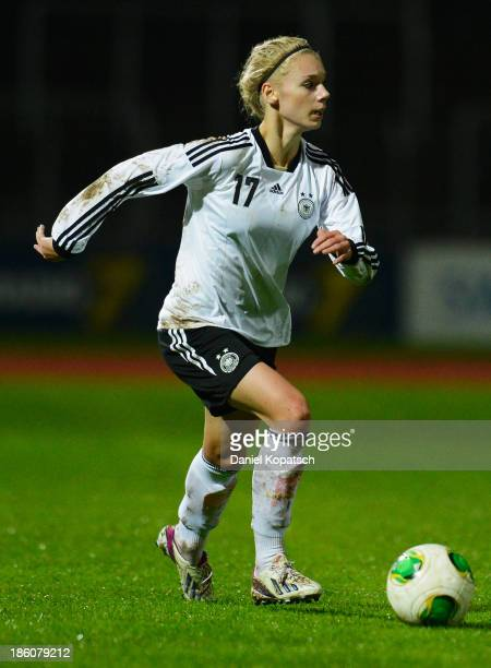 Lara Junge of Germany controls the ball during the women's U19 international friendly match between Germany and Sweden on October 23 2013 in Ulm...