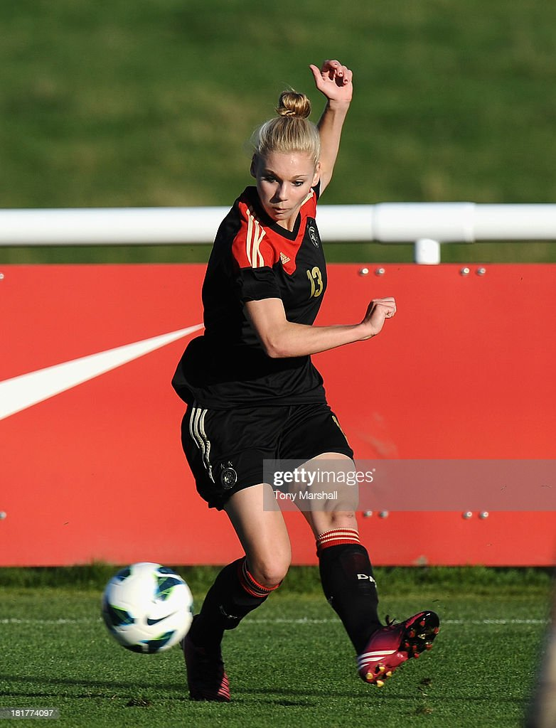 Lara Junge of Germany during the Women's International Friendly match between England Under 19 Women and Germany Under 19 Women at St George's Park on September 22, 2013 in Burton upon Trent, England.