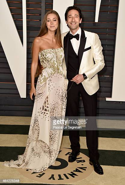 Lara Leito and actor Adrien Brody attend the 2015 Vanity Fair Oscar Party hosted by Graydon Carter at Wallis Annenberg Center for the Performing Arts...