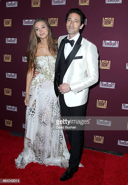 Lara Leito and actor Adrien Brody attend the 21st Century Fox and Fox Searchlight Oscar Party at BOA Steakhouse on February 22 2015 in West Hollywood...