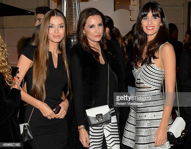 Lara Leito Monica Tomas and Alba Albadalejo attend the 'Furla' store opening on November 27 2014 in Barcelona Spain