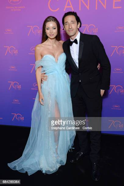 Lara Lieto and Adrien Brody attend the Opening Gala dinner during the 70th annual Cannes Film Festival at Palais des Festivals on May 17 2017 in...