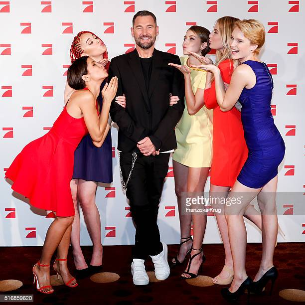 Lara Luana Michael Michalsky Laura Franziska Laura and Kim during the Germany's Next Topmodel 2016 Photo Call at the Marriot Hotel on March 21 2016...