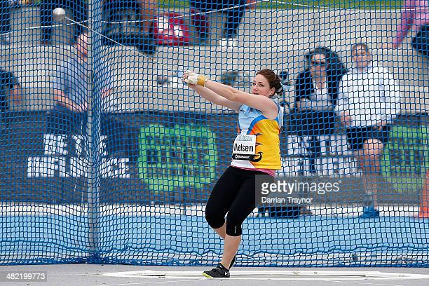 Lara Nielsen of Queensland competes in the womens hammer throw during the 92nd Australian Athletics Championships at Olympic Park on April 3 2014 in...
