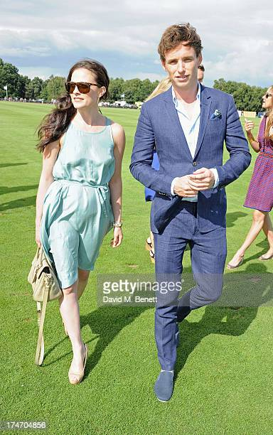 Lara Pulver and Eddie Redmayne attend the Audi International Polo at Guards Polo Club on July 28 2013 in Egham England