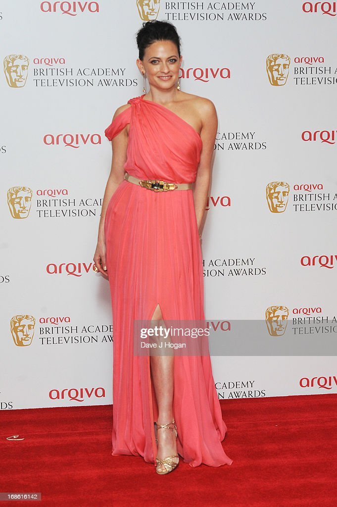 Lara Pulver poses in front of the winners boards at the BAFTA TV Awards 2013 at The Royal Festival Hall on May 12, 2013 in London, England.