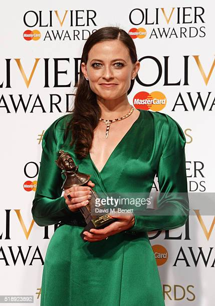 Lara Pulver winner of the Best Actress in a Supporting Role in a Musical for 'Gypsy' poses in the Winners Room at The Olivier Awards with Mastercard...