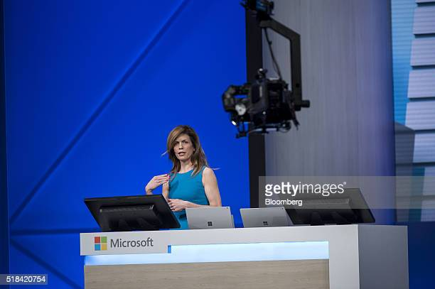 Lara Rubbelke principal software engineer at Microsoft Corp speaks during a keynote session at the Microsoft Developers Build Conference in San...