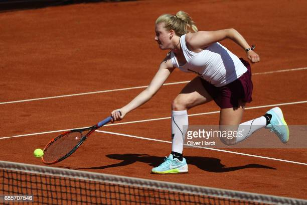 Lara Schmidt of Germany in action against Aura Sadikovic of Switzerland in the qualification round during the WTA Nuernberger Versicherungscup on May...