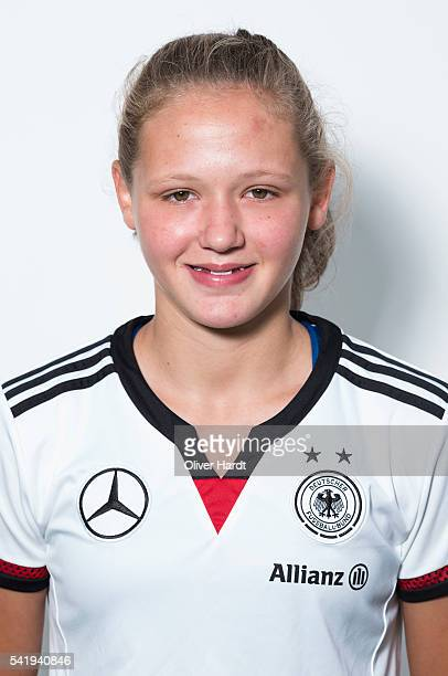 Lara Schmidt of Germany poses during the U16 Girl's Germany Team Presentation on June 21 2016 in Malente Germany