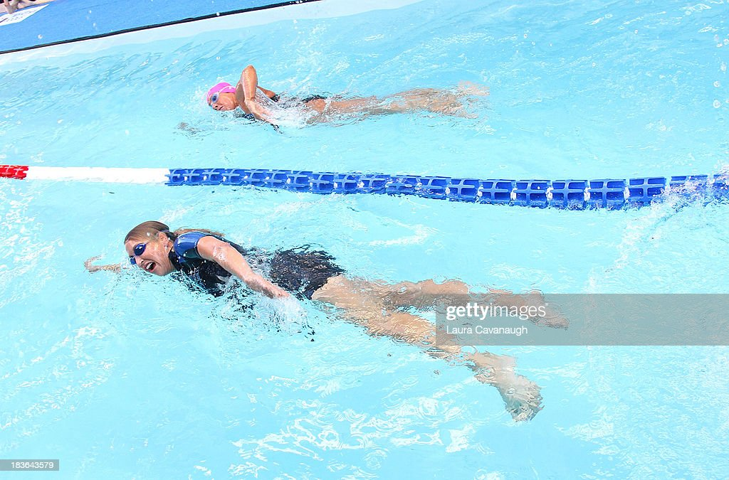 Lara Spencer and Diana Nyad attend Swim for Relief Benefiting Hurricane Sandy Recovery at Herald Square on October 8 2013 in New York City
