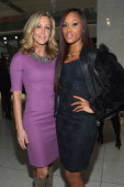 Lara Spencer and singer Eve pose at the Elie Tahari Fall 2013 fashion show presentation during MercedesBenz Fashion Week at The Studio at Lincoln...