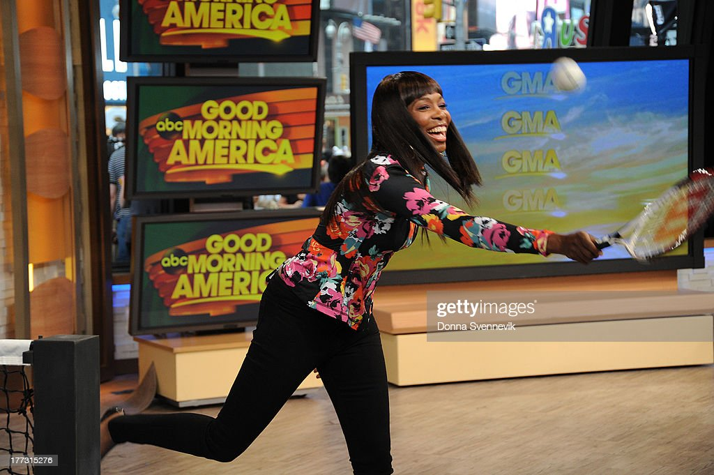 AMERICA - Lara Spencer challenges Venus Williams to a tennis match on 'Good Morning America,' 8/22/13, airing on the ABC Television Network. (Photo by Donna Svennevik/ABC via Getty Images) VENUS WILLIAMS