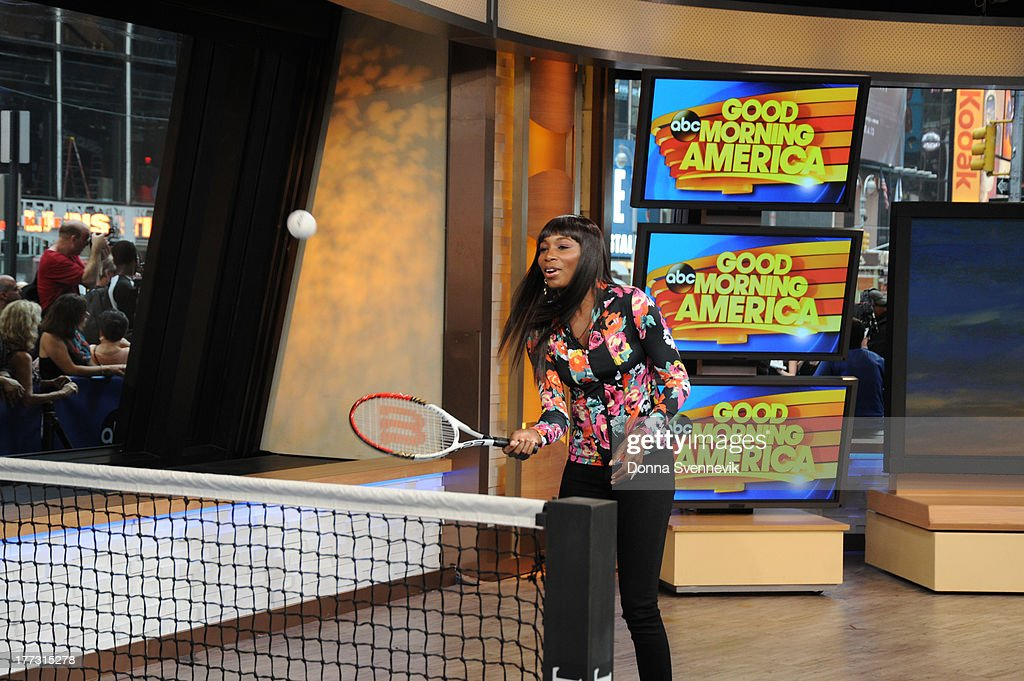 AMERICA - Lara Spencer challenges Venus Williams to a tennis match on 'Good Morning America,' 8/22/13, airing on the ABC Television Network. (Photo by Donna Svennevik/ABC via Getty Images) VENUS