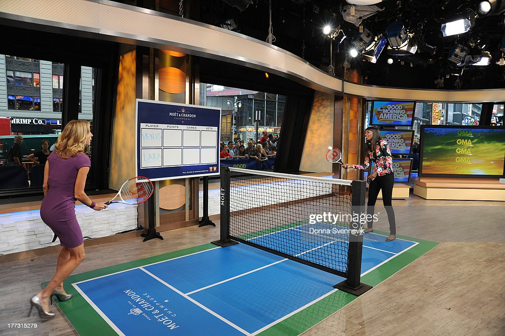 AMERICA - Lara Spencer challenges Venus Williams to a tennis match on 'Good Morning America,' 8/22/13, airing on the ABC Television Network. (Photo by Donna Svennevik/ABC via Getty Images) LARA SPENCER, VENUS WILLIAMS