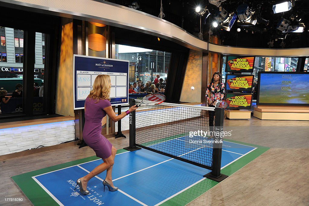 AMERICA - Lara Spencer challenges Venus Williams to a tennis match on 'Good Morning America,' 8/22/13, airing on the ABC Television Network. (Photo by Donna Svennevik/ABC via Getty Images) LARA