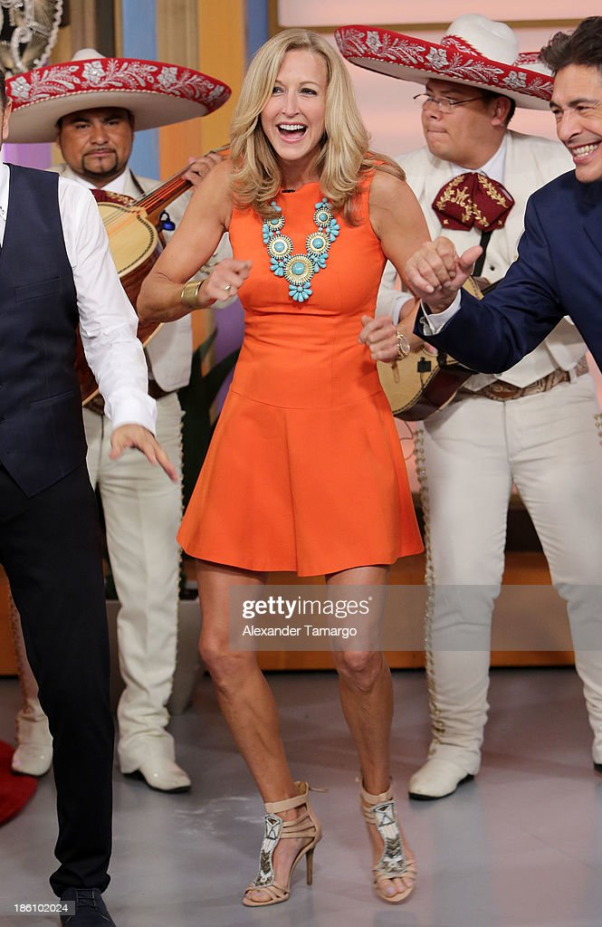 Lara Spencer is seen on the set of Despierta America for simulcast with 'Good Morning America' and Fusion's the Morning Show' at Univision Headquarters on October 28, 2013 in Miami, Florida.