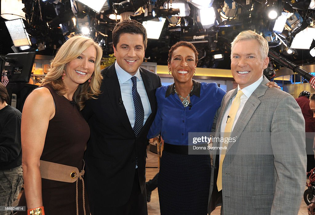 AMERICA - Lara Spencer, Josh Elliott, Robin Roberts and Sam Champion co-anchor 'Good Morning America,' 5/10/13, airing on the ABC Television Network. (Photo by Donna Svennevik/ABC via Getty Images) LARA