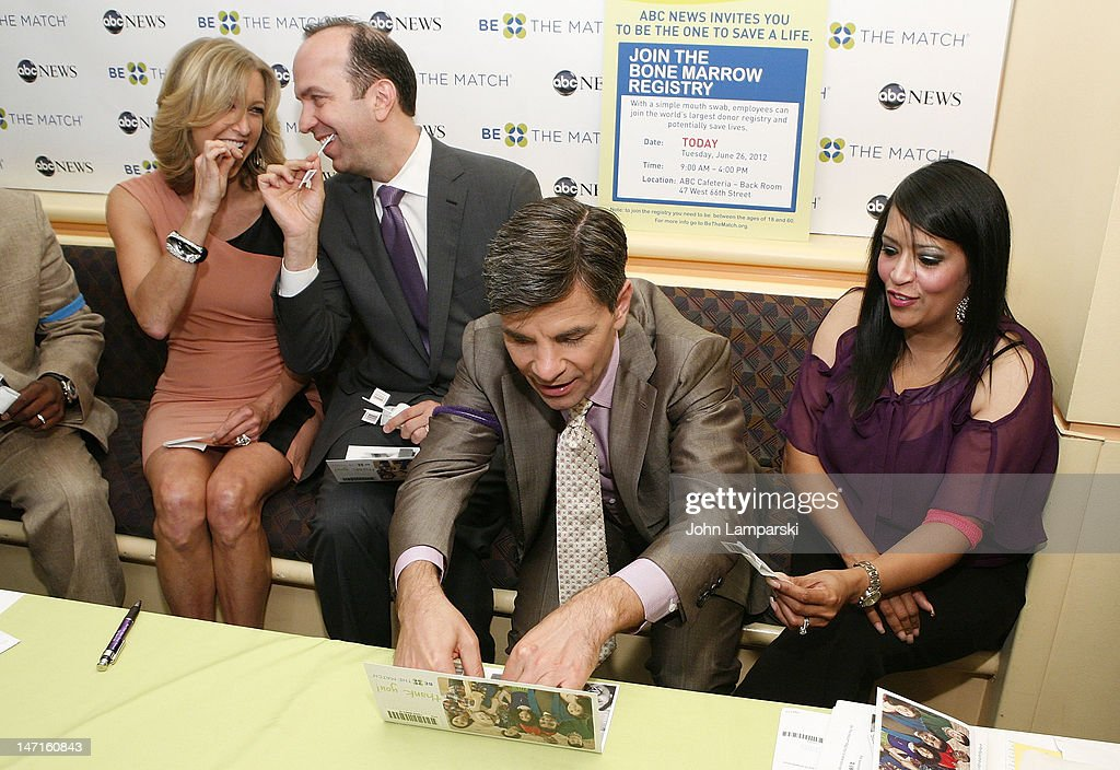 Lara Spencer, NBC News Prsident Ben Sherwood and George Stephanopoulos attend the ABC News Bone Marrow Drive at ABC Studios on June 26, 2012 in New York City.