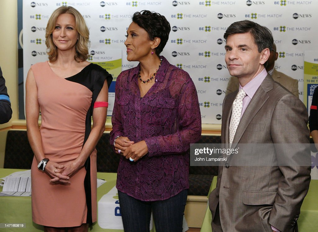<a gi-track='captionPersonalityLinkClicked' href=/galleries/search?phrase=Lara+Spencer+-+Journalist&family=editorial&specificpeople=240321 ng-click='$event.stopPropagation()'>Lara Spencer</a>, <a gi-track='captionPersonalityLinkClicked' href=/galleries/search?phrase=Robin+Roberts+-+Television+Anchor&family=editorial&specificpeople=4439371 ng-click='$event.stopPropagation()'>Robin Roberts</a> and <a gi-track='captionPersonalityLinkClicked' href=/galleries/search?phrase=George+Stephanopoulos&family=editorial&specificpeople=206404 ng-click='$event.stopPropagation()'>George Stephanopoulos</a> attend the ABC News Bone Marrow Drive at ABC Studios on June 26, 2012 in New York City.