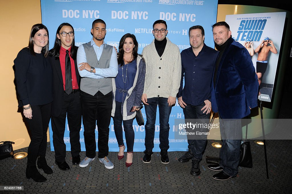 Lara Stolman, Kelvin Truong, Robbie Justino, Jacqueline Laurita, Mikey McQuay Jr., Chris Laurita and Mike McQuay attend the New York premiere of 'Swim Team' at DOC NYC on November 17, 2016 in New York City.