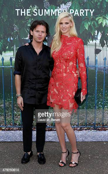 Lara Stone and Christopher Kane arrive at The Serpentine Gallery summer party at The Serpentine Gallery on July 2 2015 in London England