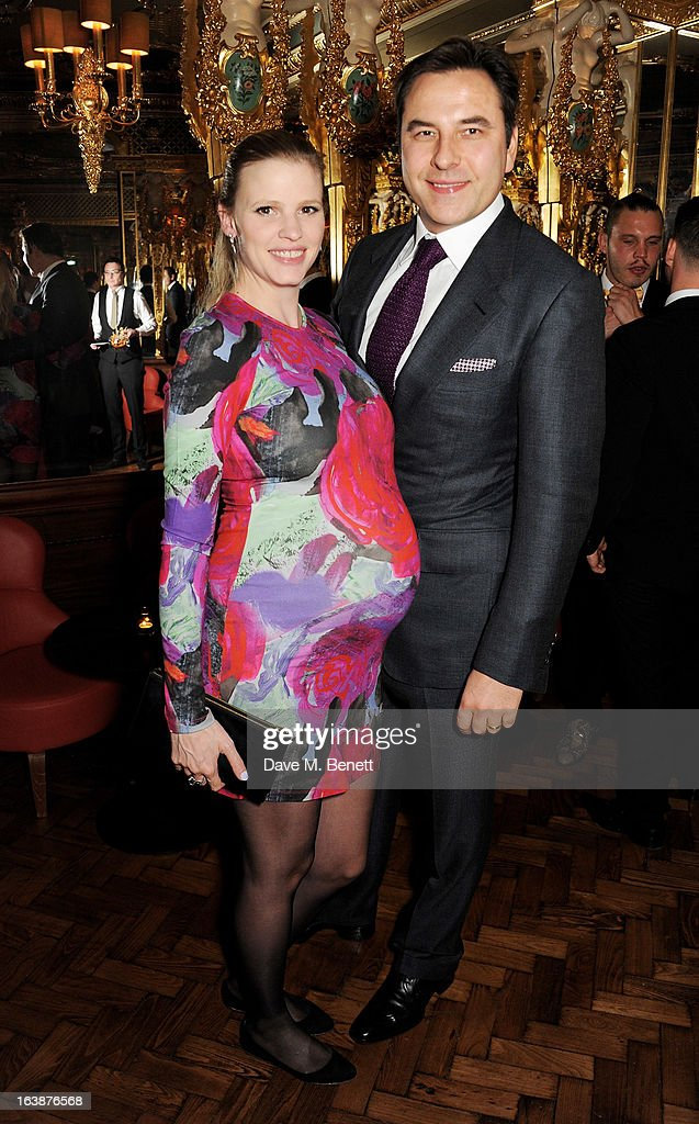 Lara Stone (L) and David Walliams attend a drinks reception celebrating Patrick Cox's 50th Birthday party at Cafe Royal on March 15, 2013 in London, England.