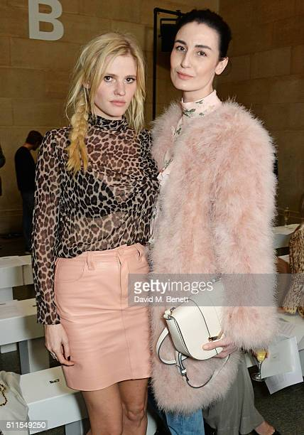 Lara Stone and Erin O'Connor attend the Topshop Unique at The Tate Britain on February 21 2016 in London England