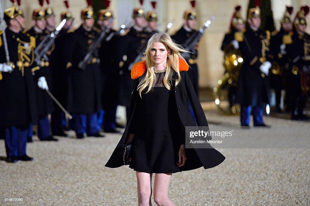 Lara Stone arrives at The State Dinner in Honor Of King Willem-Alexander of the Netherlands and Queen Maxima at Elysee Palace on March 10, 2016 in Paris, France. Queen Maxima and King Willem-Alexander of The Netherlands are on a two-day state visit in France