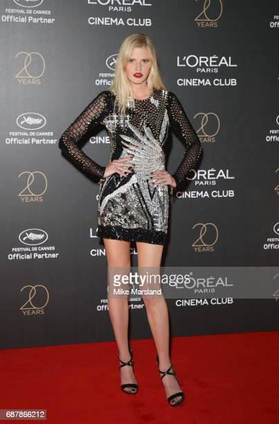 Lara Stone attends Gala 20th Birthday of L'Oreal In Cannes during the 70th annual Cannes Film Festival at Martinez Hotel on May 24 2017 in Cannes...