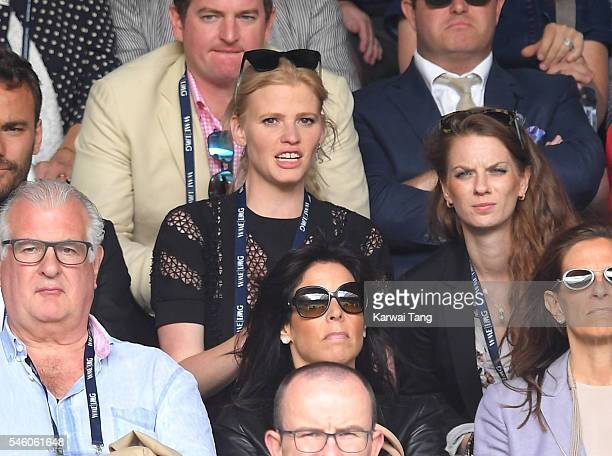 Lara Stone attends the Men's Final of the Wimbledon Tennis Championships between Milos Raonic and Andy Murray at Wimbledon on July 10 2016 in London...
