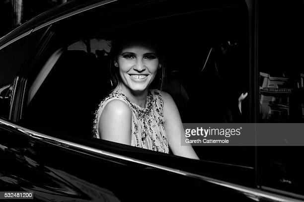 Lara Stone departs the Martinez Hotel during the 69th annual Cannes Film Festival on May 17 2016 in Cannes France