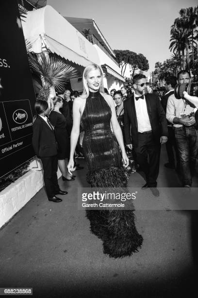 Lara Stone departs the Martinez Hotel on May 24 2017 in Cannes France