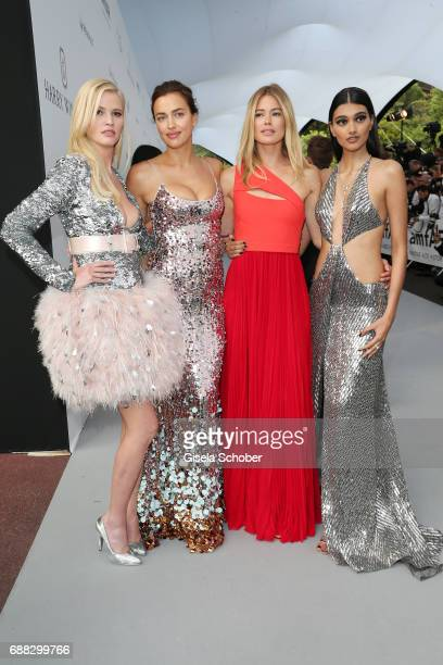 Lara Stone Irina Shayk Doutzen Kroes and Neelam Gill arrive at the amfAR Gala Cannes 2017 at Hotel du CapEdenRoc on May 25 2017 in Cap d'Antibes...