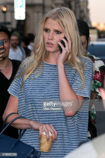 Lara Stone leaves the Versace show as part of Paris Fashion Week Haute Couture Fall/Winter 2015/2016 on July 5 2015 in Paris France