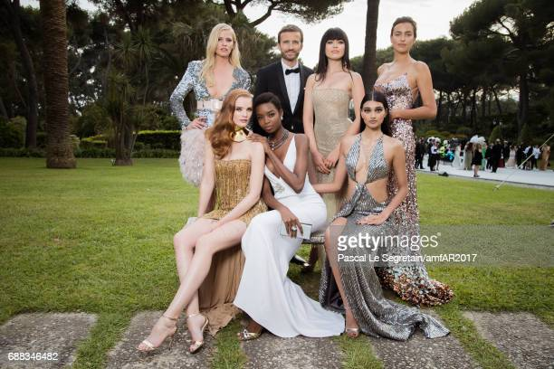 Lara Stone Pierre Emmanuel Angeloglou Kristina Bazan Irina Shayk Alexina Graham Maria Borges and Neelam Gill attend the amfAR Gala Cannes 2017 at...