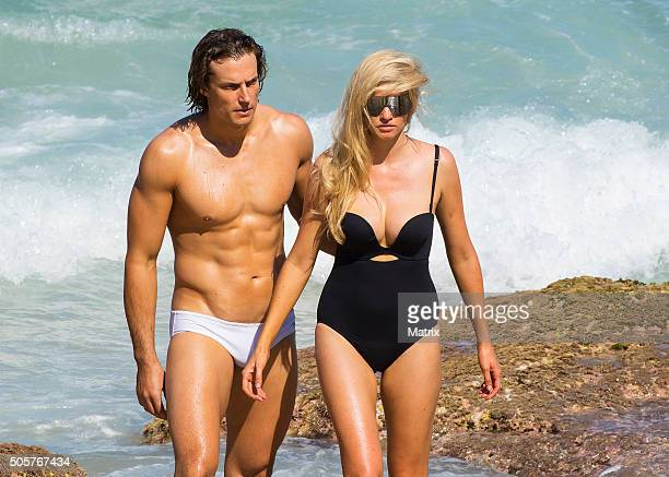 Lara Stone strikes a pose during a Mario Testino photoshoot on Bondi Beach on January 20 2016 in Sydney Australia