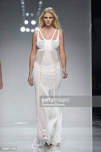 Lara Stone walks the runway during the Versace Haute Couture Spring Summer 2016 show as part of Paris Fashion Week on January 24 2016 in Paris France