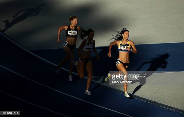 Lara Storey of NSW competes in the womens open 800m during day six of the Australian Athletics Championships at Sydney Olympic Park Athletic Centre...