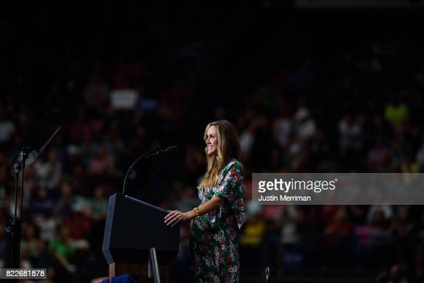 Lara Trump daughterinlaw of US President Donald Trump addresses a rally at the Covelli Centre on July 25 2017 in Youngstown Ohio The rally coincides...