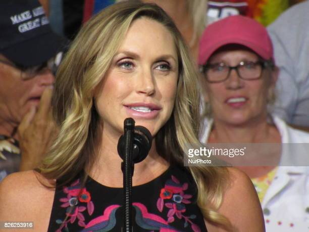 Lara Trump daughterinlaw of US President Donald Trump speaks during a Make America Great Again Rally at Big Sandy Superstore Arena in Huntington West...