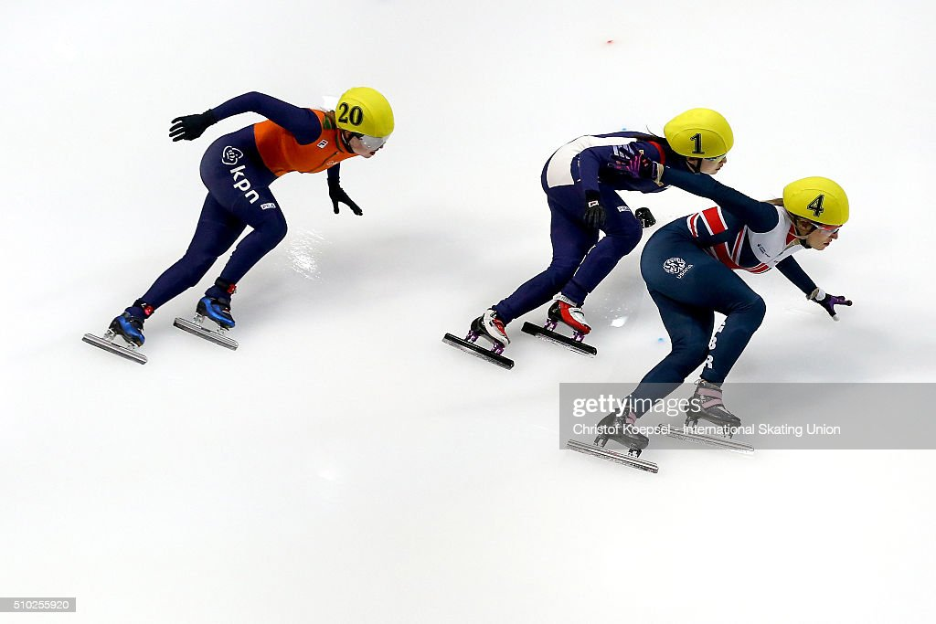 Lara van Ruijven of Netherlands, Minjeong Choi of Korea and <a gi-track='captionPersonalityLinkClicked' href=/galleries/search?phrase=Elise+Christie&family=editorial&specificpeople=4113885 ng-click='$event.stopPropagation()'>Elise Christie</a> of Great Britain compete during ladies 500m semifinal heat two during Day 3 of ISU Short Track World Cup at Sportboulevard on February 14, 2016 in Dordrecht, Netherlands.