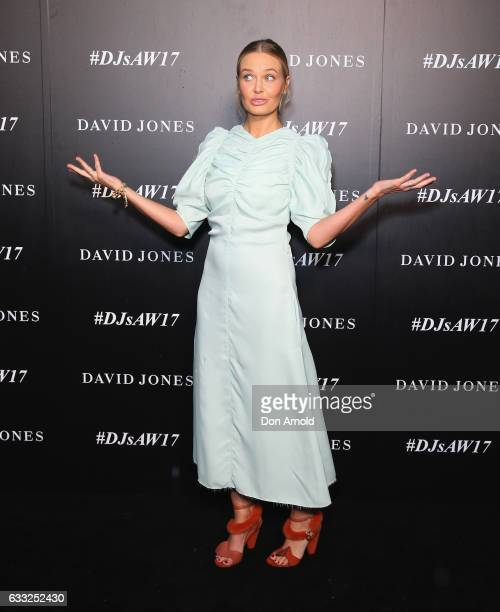 Lara Worthington arrives ahead of the David Jones Autumn Winter 2017 Collections Launch at St Mary's Cathedral Precinct on February 1 2017 in Sydney...