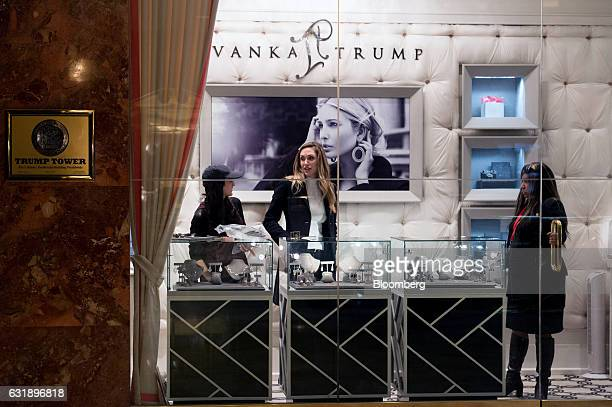 Lara Yunaska Trump wife of US Presidentelect Donald Trump's son Eric Trump center stands inside the Ivanka Trump Fine Jewelry boutique at Trump Tower...