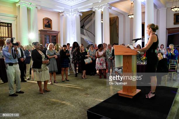 Laramie Richbourg speaks onstage during the Women's Sports Foundation 45th Anniversary of Title IX celebration at the NewYork Historical Society on...